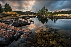 Tuolumne Fall II (TomGrubbe) Tags: tuolumne tuolumnemeadows tuolumneriver autumn fall yosemite sunset reflection rocks clouds california landscape