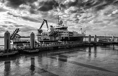 RRS Discovery (Maggie's Camera) Tags: rrsdiscovery science ship scienceship blackandwhite reflections shadows lateafternoon autumn dusky clouds water river mersey portofliverpool uk cod regionalaccents