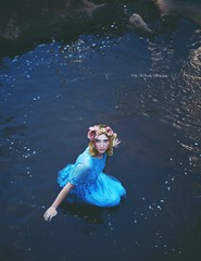 No Damsel (Kelly McCarthy Photography) Tags: woman model beautiful beauty blonde flowers floral crown floralcrown dress blue catchycolorsblue bluedress river lake water outdoors fairytale blueeyes fantasy