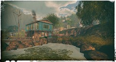 Greetings from Legacy Ridge (The Gentleman Dystopic) Tags: secondlife legacy ridge scenery landscape water sky nature small town boathouse dock sea trees vintage quaint