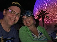 Such a fun day with my sweetie (Lee Bennett) Tags: vacation night happy couple spouse family attraction spaceshipearth epcot disney