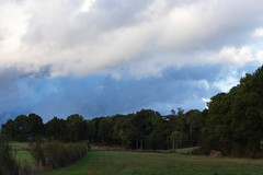 First autumn evenings with a cloudy and dark sky (martine_vise) Tags: outside sky landscape evening eveningsky clouds cloudysky trees shrubs pastures greenery green blue darksky dark eveningsun beautifulsky sunset leperche normandie france orne