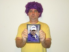 Portrait of a Man in a Purple Wig with a Portrait of The Mad Hatter (pikespice) Tags: 10millionphotos werehere hereios portraitwithinaportrait portraitinportrait wig purple gimp