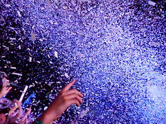 Confetti Blast (peterkelly) Tags: canada northamerica digital panasonic lumix zs50 festival music musician concert wayhomemusicartsfestival wayhome 2016 oromedonte arcadefire confetti cannon blue light hand finger crowd audience fans
