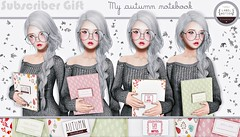 Subscriber Gift - My Autumn Notebook  (anne Dakun) Tags: avatar virtual digital 3d annedakun animation animations labelmotion secondlife kawaii cute gift subscriber subscribergift free pose poses props