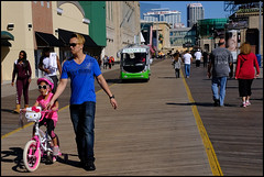 ...because the Tram's behind us, that's why. (raymondclarkeimages) Tags: raymondclarkeimages rci 8one8studios usa fuji fujifilm mirrorless apsc xt2 xf23mmf14r nj outdoor people bicycle tram boardwalk fujixseries ac atlanticcity newjersey father dad daughter child kitty trainingwheels pink