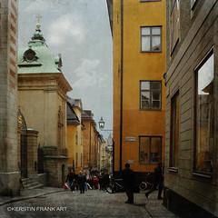 Old Town, Stockholm (Kerstin Frank art) Tags: texture oldcity stockholm kerstinfrankart oldtown alley