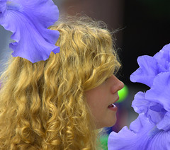 She Sang (swong95765) Tags: beauty blonde woman female lady singing pretty flowers lavender iris