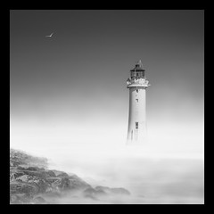 As the mist rolls in (paulantony2) Tags: monochrome blackandwhite sea seascape lighthouse longexposure mist fog d7100 nikon rocks