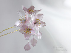 Apple Blossom Hair Pin (BestPeople.Ca) Tags: hair pin resin kanzashi cherry blossom handmade transparent forgetmenot