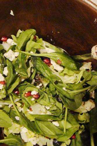 Greens with Pom, Blueberries and Vegan Feta Salad
