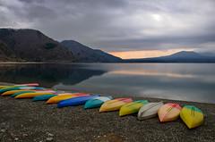 Motosuko Lake Sunrise (NatashaP) Tags: lake mountains japan sunrise boats fuji fujigoko fujifivelakes nikkor2470mm nikond800