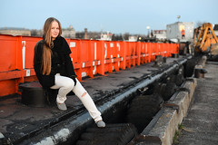 Eleonora (re-post) (Pavels Dunaicevs) Tags: sunset girl smile port river happy evening spring twilight tire security quay latvia area protrait tug barge restricted riga berth daugava andrejsala
