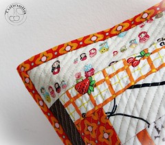 quilted orange/brown/beige pillow cushion  B (Tutinella1984) Tags: orange brown beige handmade sewing pillow quilted patchwork cushion homedecor matryoshka pillowcover cushioncover kokka tutinella