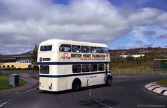 MBR36 Metrrocentre Bus Rally - Daimler on Roundabout (HairyHippy) Tags: uk england film analog 35mm silver pentax unitedkingdom superia traditional gateshead fujifilm routemaster analogue dennis daimler chemical leyland asa400 bromide mesuper xtra tyneandwear metrocentre fujicolor atkinson aec busrally halide preservedbuses c41developer fujihunt