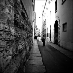 Diana Walk #2 (I is someone else) Tags: street camera white film rollei toy lomography strada italia lofi plastic diana 400 analogue brescia lombardia xtol suore pellicola noons rpx
