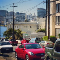 down Hanover Avenue, Oakland, September 27, 2008 (/\/\ichael Patric {) Tags: california street city urban skyline buildings square oakland apartments sierra wires squareformat lakemerritt residential redcar michaelpatrick iphoneography instagramapp uploaded:by=instagram