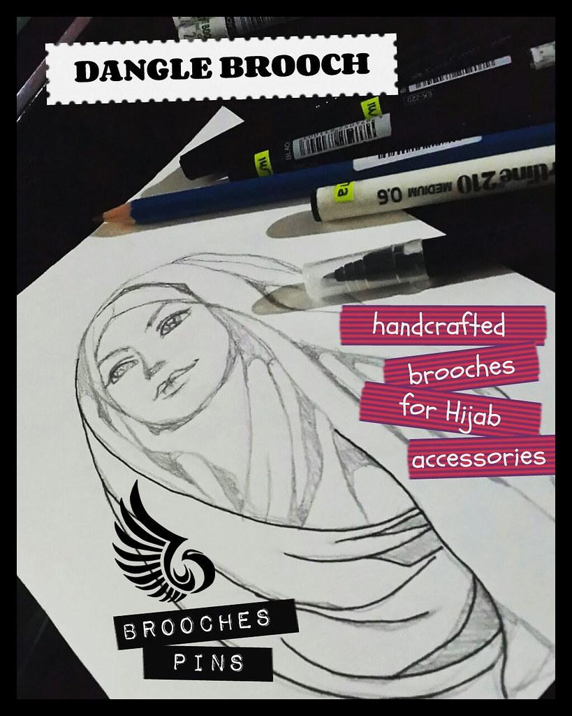 Dangle brooch art elmisam tags girls art beautiful lady pencil drawing brooch hijab