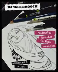 Dangle Brooch Art (elmisam) Tags: girls art beautiful lady pencil drawing brooch hijab pins hobby accessories dangle