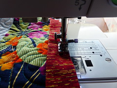 Starting to sew down the binding (Snuva) Tags: quilt quilting qult robertkaufman binding finishing ufo tasmania hobart japanese