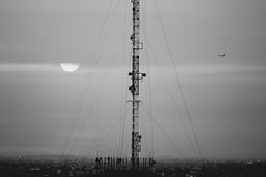 Polution IV (Pulpolux !!!) Tags: morning antenna sun plane city fog smog urban mexicocity wires communications