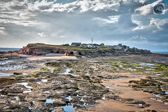 Island in the mainstream (alun.disley@ntlworld.com) Tags: hilbreisland wirral merseyside england uk landscape seascape beach shoreline nature rocks boulders buildings naturereserve riverdee water weather clouds
