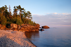 sawpit bay golden hour (twurdemann) Tags: algoma canada cottrellcove fujixt1 goldenhour highway17 hoyandx8 lakesuperior landscape nature neutraldensityfilter northernontario ontario sawpitbay scenic seascape shoreline stonebeach summer sunset water