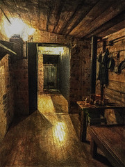 Dark Textures (Steve Taylor (Photography)) Tags: art digital architecture ceiling light brown wood wooden newzealand nz southisland canterbury christchurch texture shadow festival spectrun ymca
