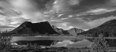 Hyperreal Summer days up North (lunaryuna) Tags: norway lofoten lofotenislands lofotenarchipelago landscape panorama peaks lofotenwall lake reflections seeingdouble sky clouds cloudscape weather weathermood summer season seasonalwonders blackwhite bw monochrome lunaryuna