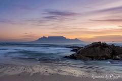 Table Mountain (r0xii) Tags: tablemountain capetown mountain ocean sea beach sunset dusk water sky rock clouds beautiful