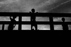 (Scott F Thompson) Tags: kanaawa bridge boys silhouette japan blackandwhiite streetphotography
