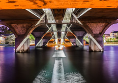 marlin cove bridge (pbo31) Tags: california bayarea nikon d810 color august 2016 summer boury pbo31 northerncalifornia fostercity sanmateocounty bridge reflection canal infinity orange purple