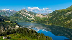 France, Alpes, Savoie, Beaufortain, le lac de Roselend, le Roc du Vent et le Mont Blanc en fin de journe. (Happictures (Olivier Baudot)) Tags: happictures olivierbaudot sony sonya77ii sonyalpha77ii sonyilca77m2 dt1650mmf28ssm slt montagne mountain montagna montaas montblanc montebianco landscape paysage lac lake barrage edf alps alpes beaufort archesbeaufort arches reflets reflection rocduvent france francia frankreich europe europa eu savoie hautesavoie beaufortain alpage tarentaise roselend cormet