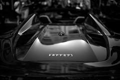 Ferrari 488 Spider, engine cover, reflection (David A. Barnes) Tags: leica leicam240 summiluxm35mmasphfle ferrari ferraribyleica ferrari488 ferrari488spider italiansportscar car automobile blackandwhite noiretblanc blancoynegro biancoenero reflections supercar