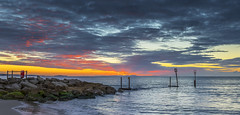 Branksome Dawn (nicklucas2) Tags: bournemouth seascape beach groyne isleofwight sea sand solent sun sunrise cloud