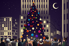 Crowd in the city near big lighted Christmas tree (hungcus) Tags: vector illustration cartoon drawing clipart modern christmas merrychristmas celebrate celebration season seasonal tradition traditional holiday male female adult young men women lady girl people christmastree lifestyle night happy happiness smile lights festive winter december