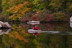 Autumn on the Water (SunnyDazzled) Tags: autumn lake kanawauke harriman statepark newyork fishing fisherman reflections fall foliage colorful mirror october nature portrait outdoorsman kayak paddle fishingpole