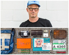Toby Diptych (J Trav) Tags: persona diptych portrait tobyhuss actor atlanta haltandcatchfire whatsinyourbag theitemswecarry showusthecontentsofyourbag peteandpete artie thingsorganizedneatly