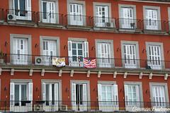 Plaza Mayor III (geba02) Tags: plaza mayor madrid espaa outdoors outdoor ventana window ventanal puerta door balcon balcones arquitectura real atletico bandera futbol football