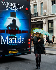 Matilda (stevedexteruk) Tags: matilda theatre advertising london regent street uk umbrella woman bus 2016 city westminster musical roald dahl
