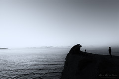 Incomunicacin (Mimadeo) Tags: person people man looking solitude sea sky ocean water nature coast horizon alone one landscape two black white blackandwhite watching silhouette peace loneliness view outdoor cliff