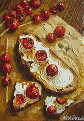 """""""Grilled cherry tomatoes on toast"""" 2015 OIL ON CANVAS by Alisa Denoizz 14"""" x 20"""" #OilPainting #OilOnCanvas #PaletteKnife #KnifeArt #TexturePainting #TextureArt #Texture #Impasto #Grilled #Tomatoes #Rustic #Wood #FoodArt #KitchenArt #AlisaDenoizz (alisa_denoizz) Tags: oilpainting oiloncanvas paletteknife knifeart texturepainting textureart texture impasto grilled tomatoes rustic wood foodart kitchenart alisadenoizz"""