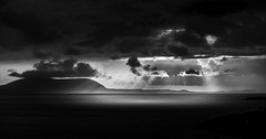 Sun beams (Ian Latham) Tags: scotland highlands ocean sea water waves light rays sunset blackandwhite seascape