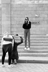 Nice smile! :-) (PIXXELGAMES - Robert Krenker) Tags: wien vienna parlament parliament street streetshot streetstyle fashion makeup sausage girls jeans leggy longlegs blackandwhite schwarzweiss blacknwhite stairs snapshot fujifilm fujinon biancoenero monochrom behind back frombehind sunglasses longhairs bnw fujicams