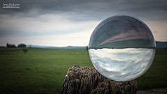 Crystal Ball (Jean McLane) Tags: ball landscape funny horizon reverse green cloudy paysage paisaje france