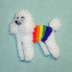 Beaded Rainbow Poodle Pin Pendant (The Lone Beader) Tags: beads beadembroidery beadwork lgbtq gaypride pets petportrait dogjewelry etsy amazon amazonhandmade beading pendant brooch shopping gift standardpoodle miniaturepoodle