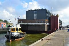 Tugs + Good Hotel (11a) @ KGV Lock 13-10-16 (AJBC_1) Tags: riverthames london ship boat vessel dlrblog england unitedkingdom uk ajc northwoolwich eastlondon newham londonboroughofnewham tug tugboat nikond3200 shipsinpictures floatinghotel thegoodhotel barge dinalauncher submersiblebarge myklebusthaugmanagementas royaldocks kgvlock kinggeorgevlock londonsroyaldocks docklands marineengineering swalshsonsltd swsbreda walsh swssuffolk gallionsreach thamescraftdrydockingservicesltd devout damen