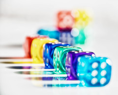 Reflections in a row (explored 2016-10-03) (Maria Eklind) Tags: colour färg colorful colors highkey dice inarow tärning macro reflection macromondays closeup bokeh dof spegling pårad depthoffield indoor