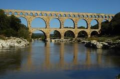 Bridge over water (chriskatsie) Tags: bridge pont gard aqueduct aqueduc reflet eau water river riviere