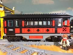 Train MOC first attempt... (woodrowvillage) Tags: lego legos train car passenger moc build red locomotive railway rails travel freight cargo boxcar flat
